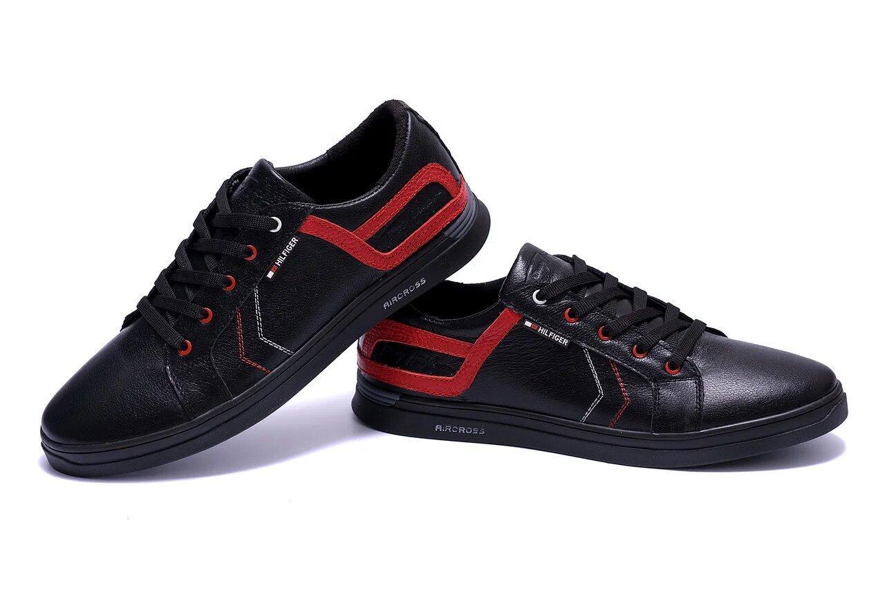Мужские кожаные кеды в стиле T.Hilfiger Aircross Black черные