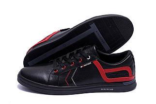 Мужские кожаные кеды в стиле T.Hilfiger Aircross Black черные, фото 3