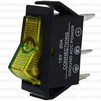 Переключатель с подсветкой ASW-09D ON-OFF, 3pin, 12V, 20А, желтый