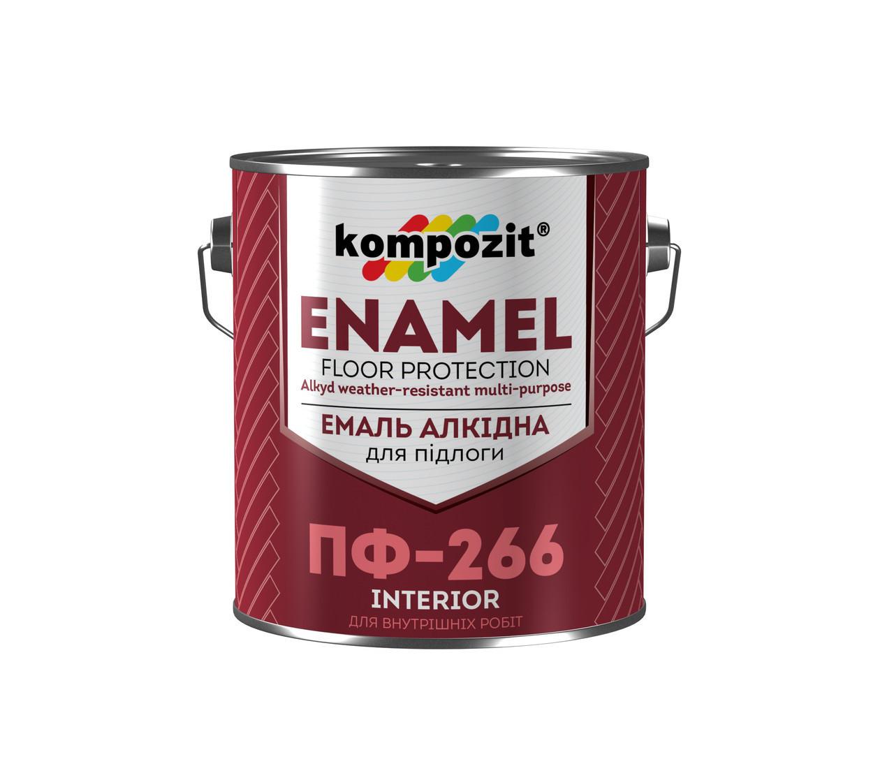 Эмаль для пола Kompozit ПФ-266 (2,8 кг) желто-коричневая