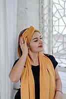 Повязка замшевая на голову-тюрбан горчичная