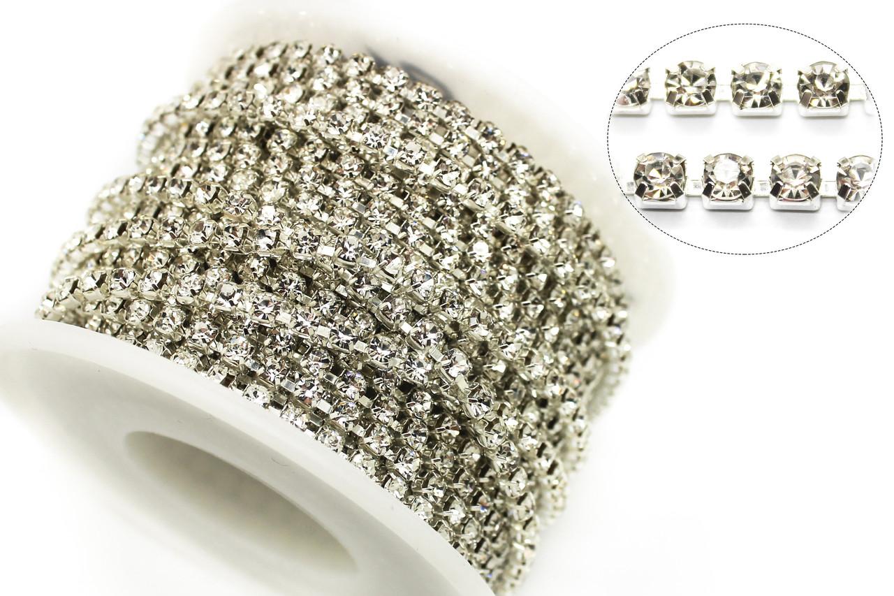 Стразовая цепь ss10(ширина 2.8мм) Crystal.Стразы стеклянные.Цена за 1м.
