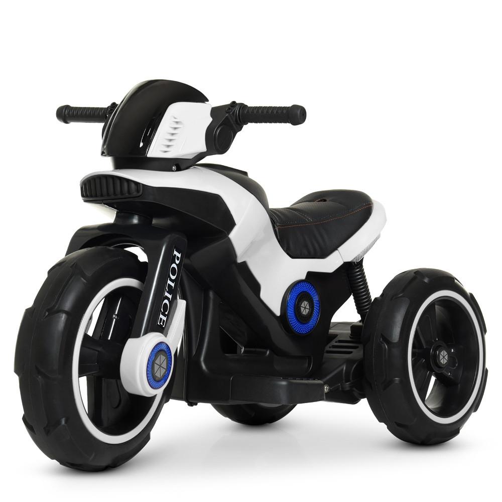 Дитячий електромобіль Мотоцикл M 4228 EL-1, POLICE, колеса EVA, шкіряне сидіння, білий