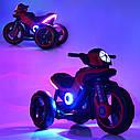 Дитячий електромобіль Мотоцикл M 4228 EL-1, POLICE, колеса EVA, шкіряне сидіння, білий, фото 6