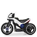 Дитячий електромобіль Мотоцикл M 4228 EL-1, POLICE, колеса EVA, шкіряне сидіння, білий, фото 3