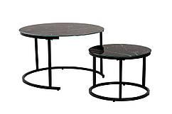 Комплект журнальних столів CS-25 скло, круглий, чорний, метал