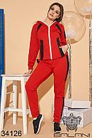 Спортивный красный женский брючный костюм большие размеры