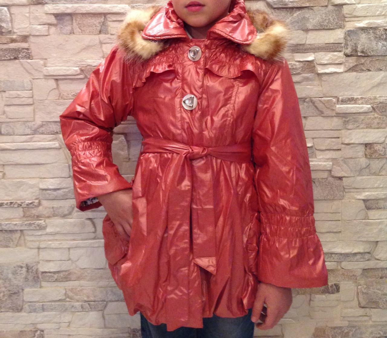 Пальто демисезонное с капюшоном для девочек Алиса