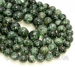 10 мм Серафинит, Натуральный камень, Форма: Шар, Отверстие: 1-1.5 мм, кол-во: 38-40 шт/нить, фото 2
