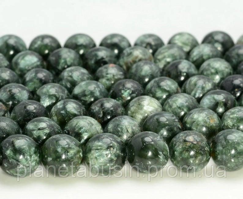 10 мм Серафинит, Натуральный камень, Форма: Шар, Отверстие: 1-1.5 мм, кол-во: 38-40 шт/нить