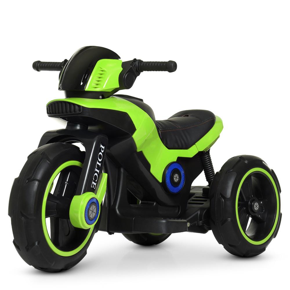 Детский электромобиль Мотоцикл M 4228 EL-5, POLICE, колеса EVA, кожаное сиденье, зеленый