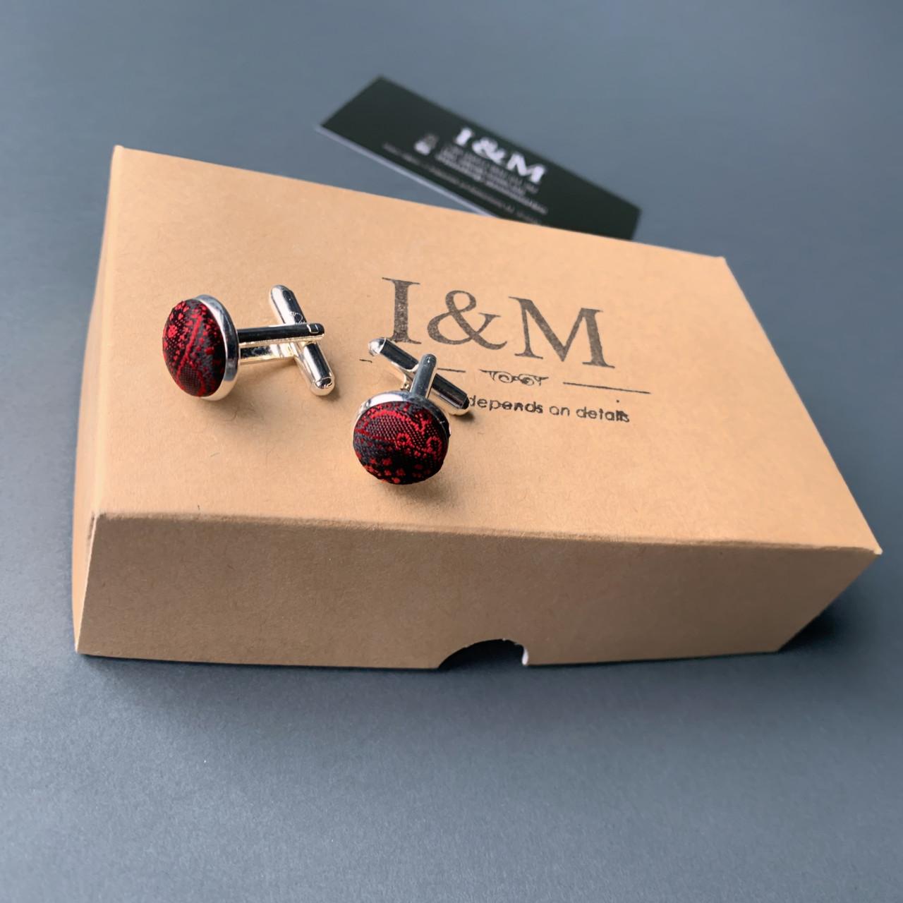 Запонки I&M Craft красные с отливом (500125Z)
