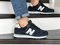 Мужские весенние кроссовки  темно синие с белым New Balance 574 8982 (реплика)
