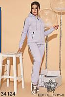 Спортивный светло-серый женский брючный костюм большие размеры