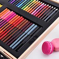 Набор для рисования Painting Set 180 предметов Чемоданчик Карандаши Краски Палитра Степлер, фото 5