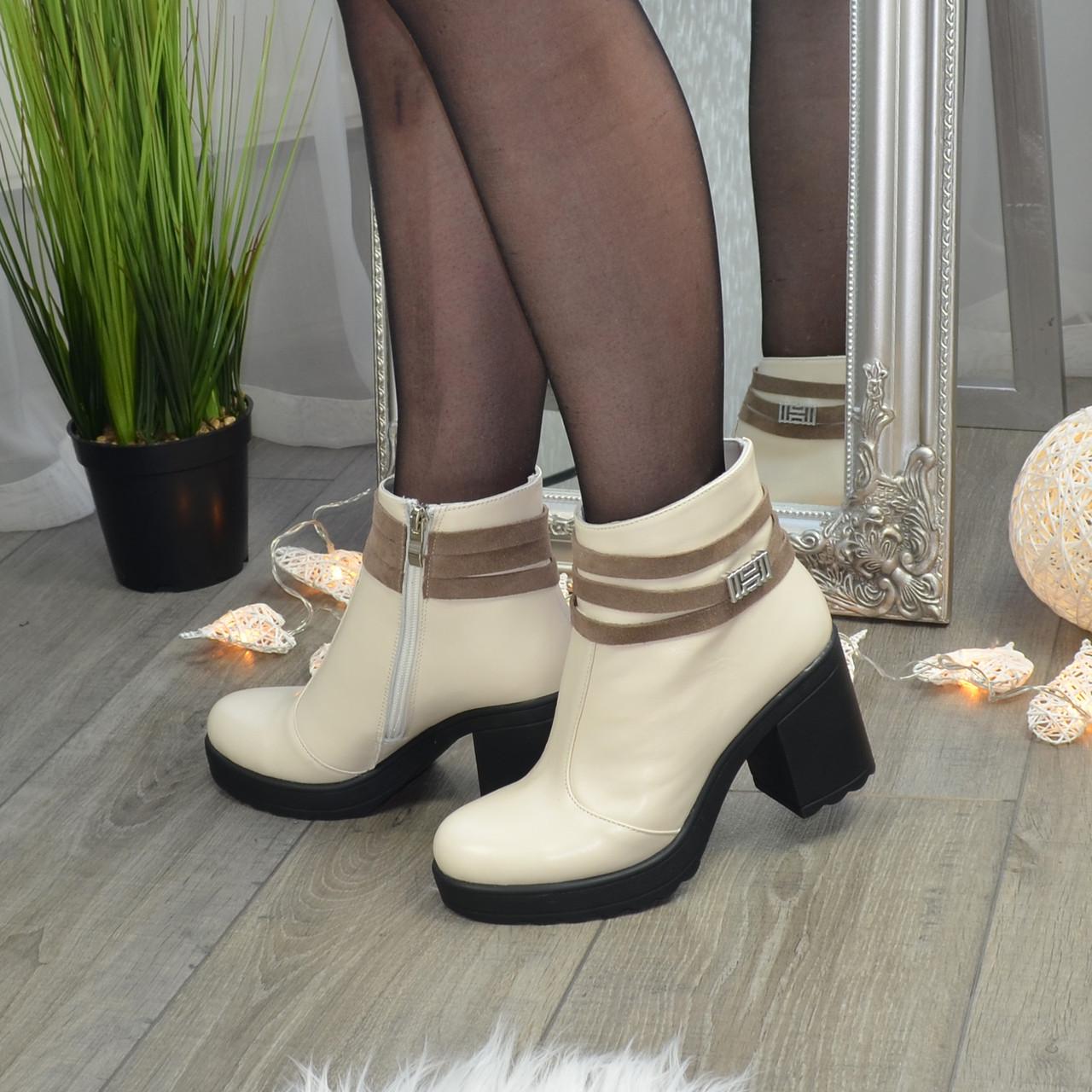Ботинки зимние женские кожаные на устойчивом каблуке. Цвет бежевый