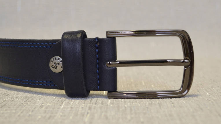 Синий кожаный ремень с синей строчкой 337, фото 2