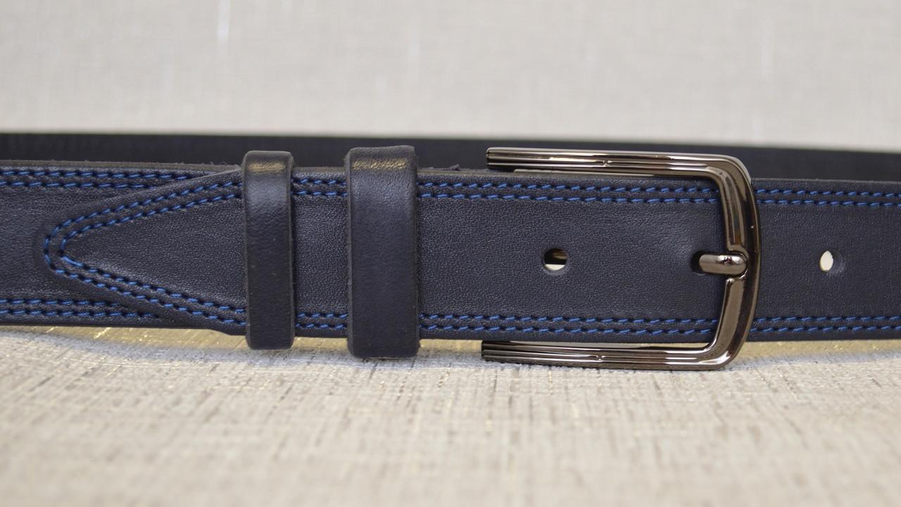 Синий кожаный ремень с синей строчкой 337