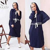 Спортивное платье - туника с капюшоном и карманами длины миди Размер: 50-52, 54-56, 58-60, 62-64 арт 222