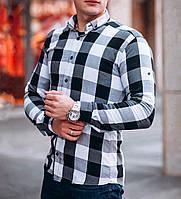 Мужская рубашка в клетку черно-белая, фото 1