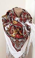 Женский Павлопосадский платок шерстяной.Молочный красный жолтый.Цветы розы с шелковой бахрамой140\140