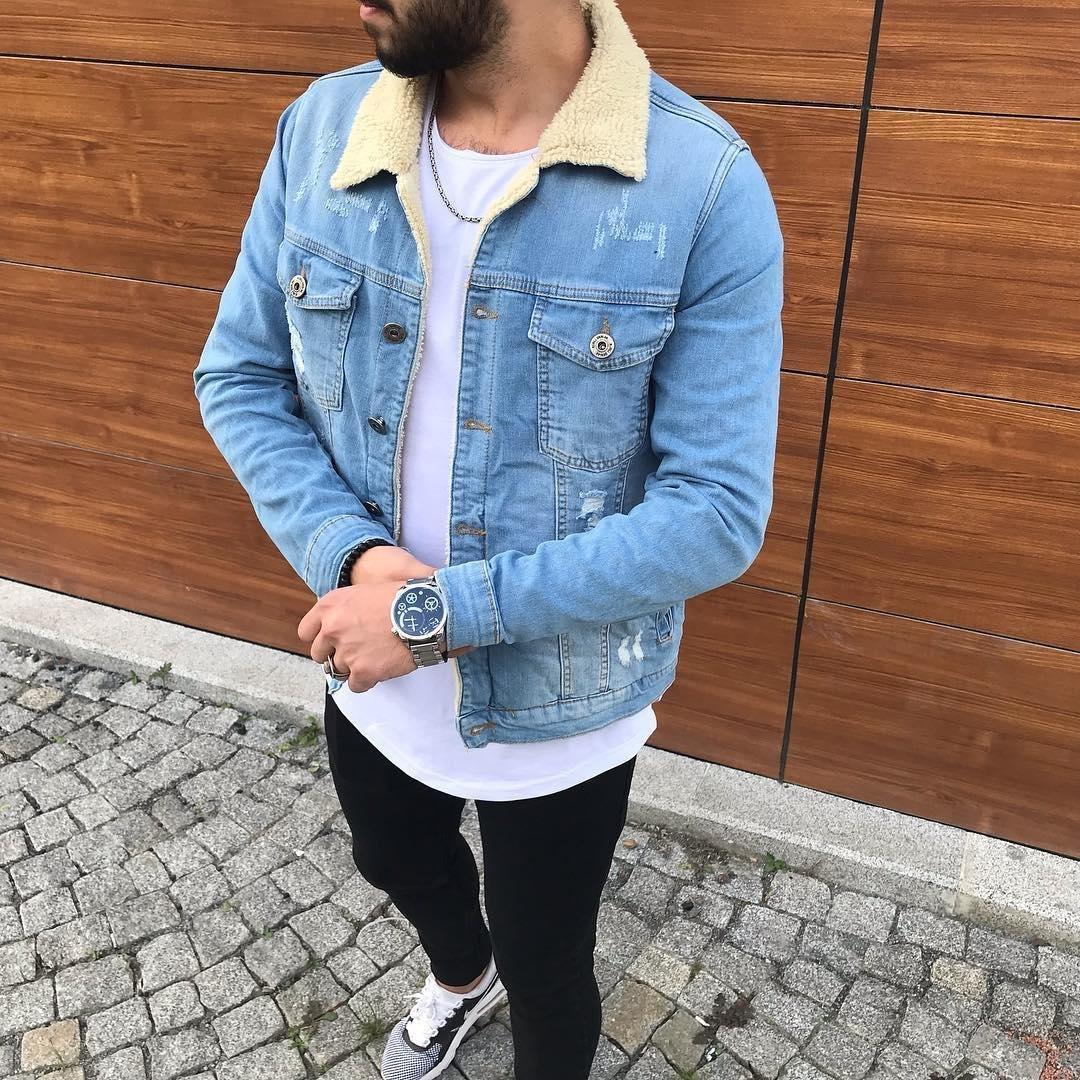 Мужская джинсовая куртка с мехом голубая JJ3