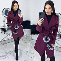 Женское кашемировое пальто на запах