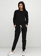 Костюм женский, свитшот и штаны, цвет чёрный