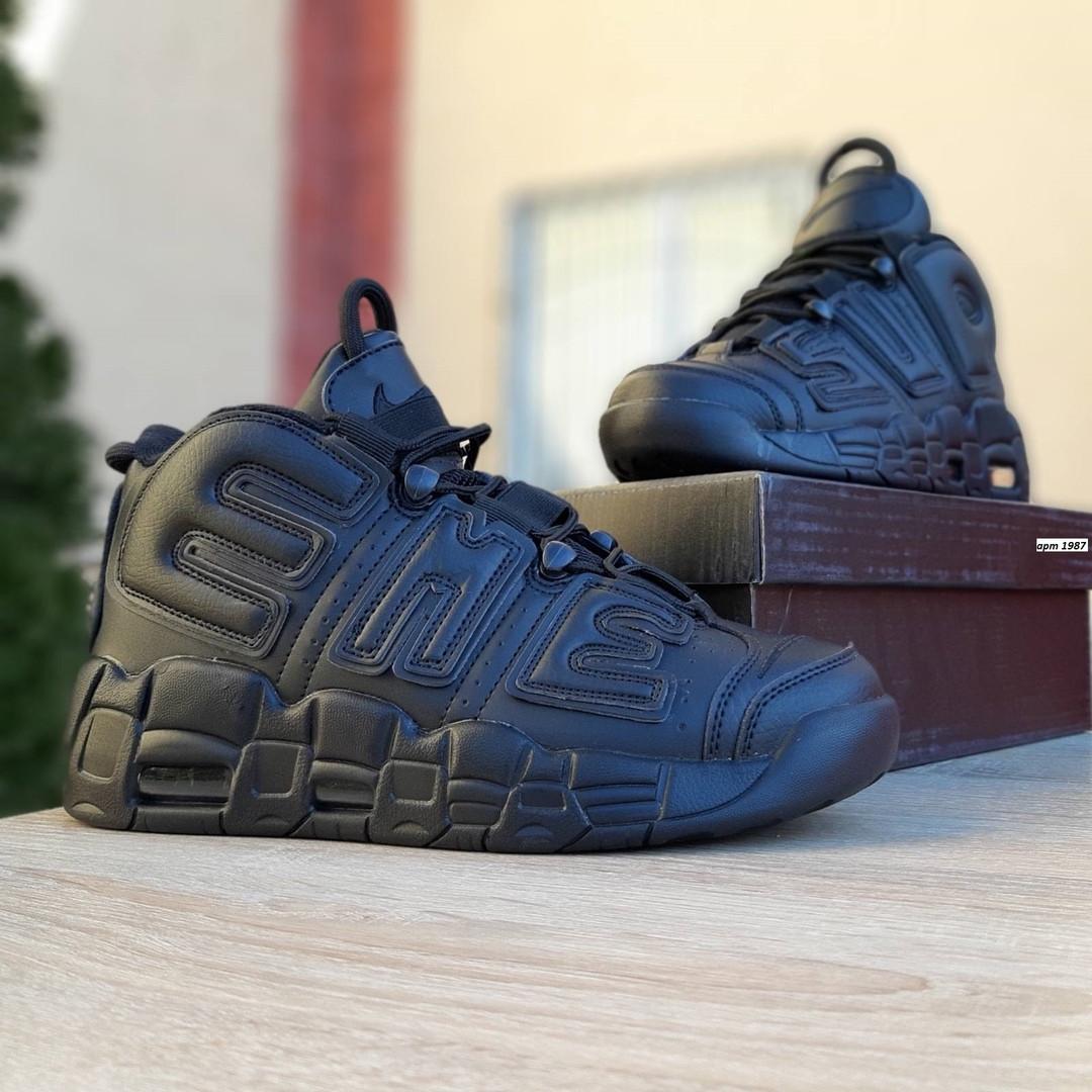 Мужские кроссовки Nike Air More Uptempo (черные) 1987