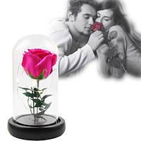 Роза в колбе с LED МАЛЕНЬКАЯ розовая №A51