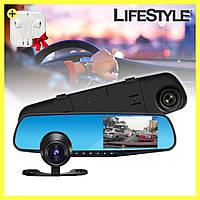 Видеорегистратор зеркало с двумя камерами DVR 138W 4,3 + наушники в подарок!