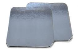 Ламинированная картонная подложка для упаковки пищевых продуктов 25*15 см серебристые