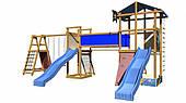 Детская игровая площадка SportBaby-12 деревянная с горками и качелями