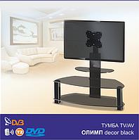 Тумба под телевизор стеклянная с кронштейном Олимп Decor Black (1050х420х1050)