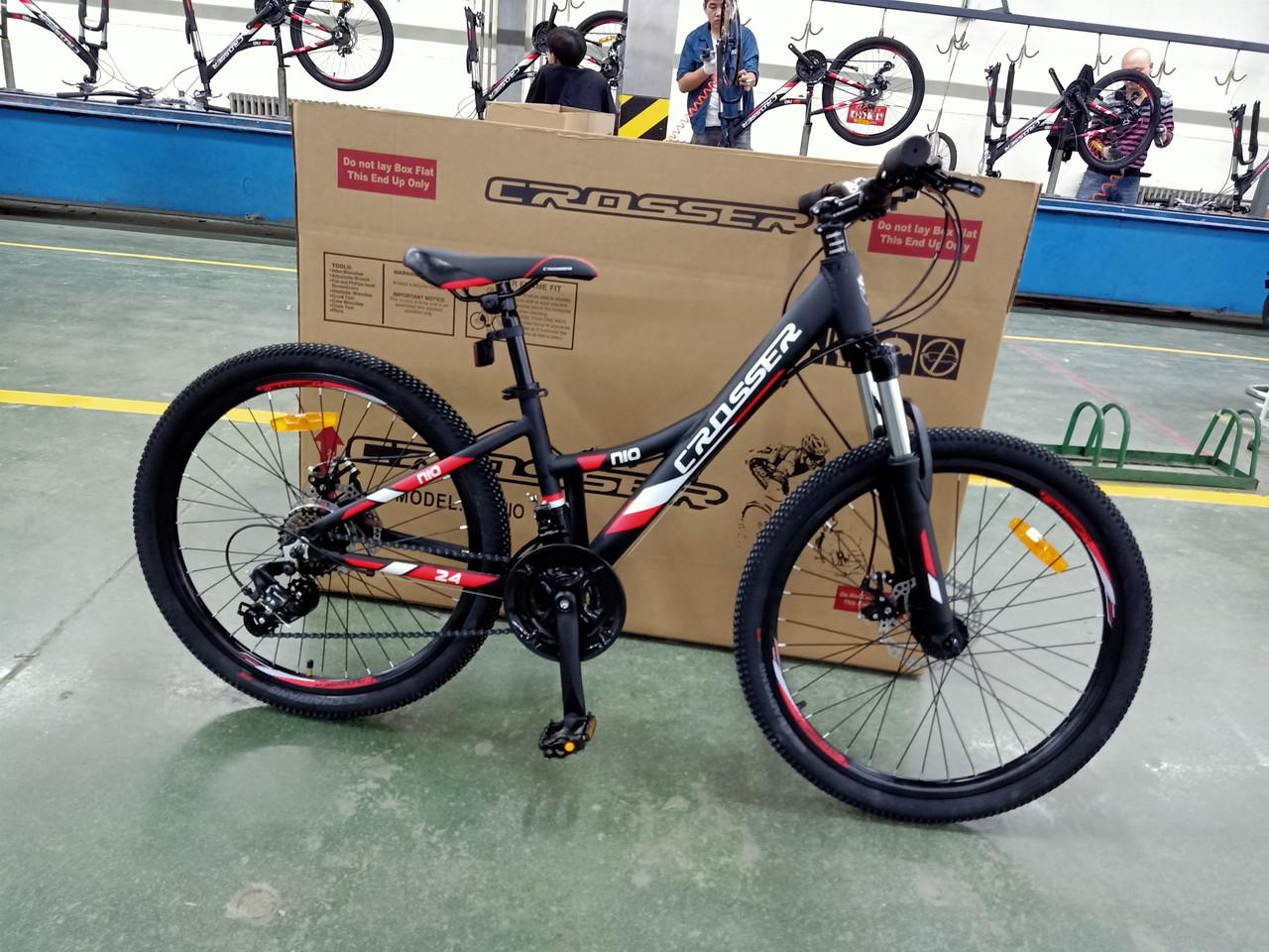 Велосипед CROSSER 24  Nio Stels 12,5  2020 года Черный\Красный цвет