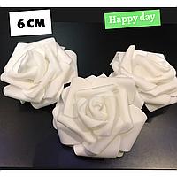 Роза латексная белая 6 см., набор 4 шт