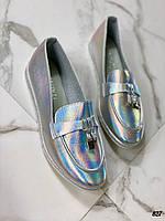 Стильные туфли лоферы эко кожа 36-41 р галограмнный, фото 1