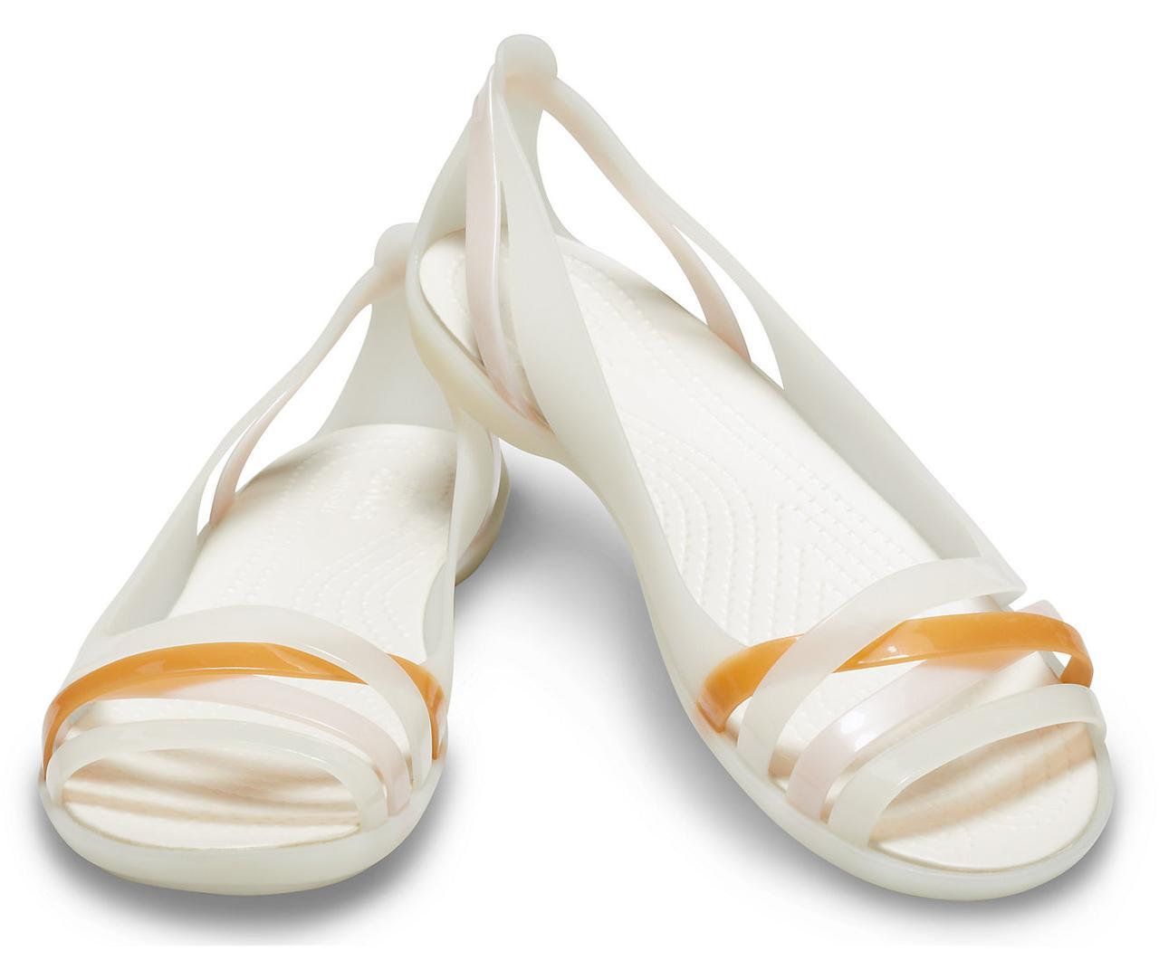 Босоножки женские Крокс Изабелла оригинал / Crocs Women's Isabella Huarache II Flat (204912), Молочные 38