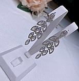 Сережки у сріблі родованим з цирконом Листочки, фото 2
