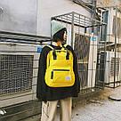 Желтый рюкзак-сумка женский однотонный в стиле Канкен Mojoyce, фото 4
