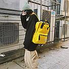 Желтый рюкзак-сумка женский однотонный в стиле Канкен Mojoyce, фото 5