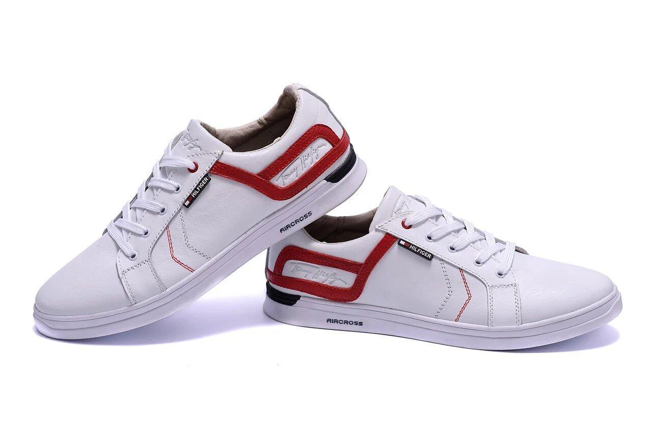 Мужские кожаные кеды в стиле T.Hilfiger Aircross White белые