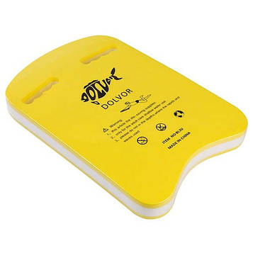Дошка для плавання Dolvor DLV-3U-3, жовтий/білий,EVA(р-р: 42,5 х 28 х 4,3 см)