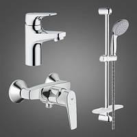 Набор смесителей для душа Grohe Bau Flow 121630, краны и стойка в ванную комнату