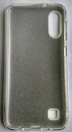 Силіконовий чохол для Samsung M105/M10 з блискітками (білий), фото 2