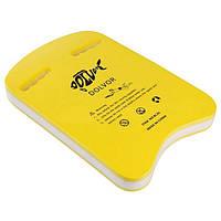 Доска для плавания Dolvor DLV-3U-3, желтый/белый,EVA(р-р: 42,5 х 28 х 4,3 см)