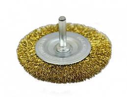 Щетка-крацовка дисковая латунированая рифленая со шпилькой  75 мм (18-061)
