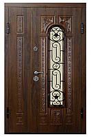 Двери входные полуторные  120см Днепр 139-120 Входные двери для частного дома. Входная дверь с ковкой, стеклом