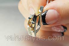 Серебряные серьги с фианитом и вставками золота