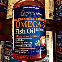 Риб'ячий жир Puritan's Pride Triple Strength Omega-3 Fish Oil 1360 mg 240 softgels Омега 3 Пуританс